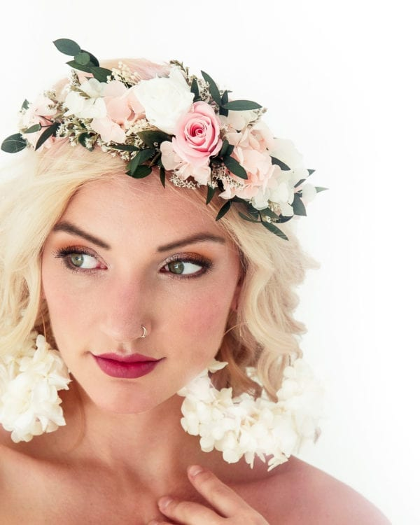 dried flower crown with pink rose